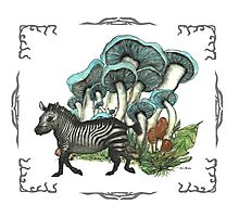 Dancing Zebra Losts in Blue Dizzy Fungi Forest (frame) Photographic Print