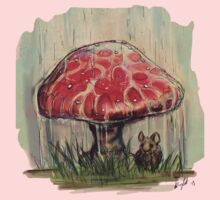 Mouse Sheltering Under Toadstool Kids Clothes