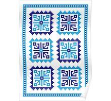 Traditional Folk Pattern - Blue Poster