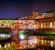 Ponte Vecchio Night Reflections by George Oze