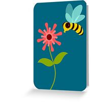 Buzzing Flower Bee Illustration Greeting Card