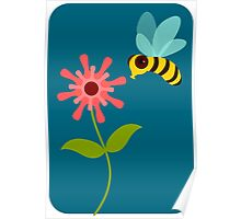 Buzzing Flower Bee Illustration Poster