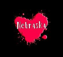 Nebraska Splash Heart Nebraska by Greenbaby