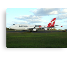 Qantas 747 on Easter Island runway Canvas Print
