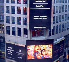 """""""The Crowded Cafe"""" painting In Lights in Time Square NY! by Sharon Geisen Hayes"""