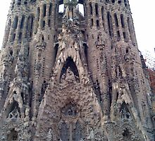 Front view of Gaudi's church - Sagrada Familia by hilarydougill