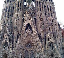 Front view of Gaudi's church - Sagrada Familia by hilarydougill
