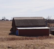 The Red Barn in a Brown Field by vigor