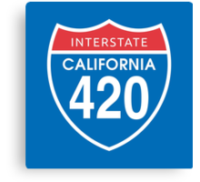 California 420 Day US Interstate Highway Sign Canvas Print