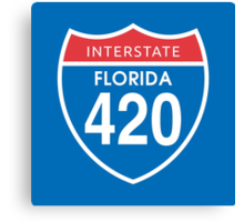 Florida 420 Day Red Blue Interstate Highway Sign Canvas Print