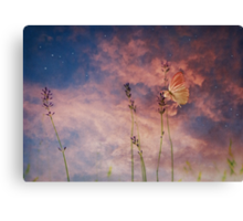 Peach and Yellow Butterfly on Lavender at Indigo Blue Starry Twilight Canvas Print