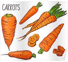 Set simple sketch icons carrots isolated on white background. Vegetables. Food. Hand drawn  Poster