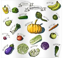 illustration of a set of hand-painted vegetables, fruits Poster