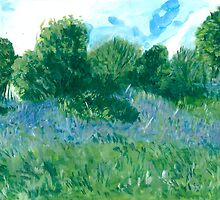 Bluebells oil painting on paper by foxandbadger