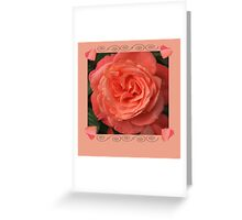 Peach rose With Hearts Greeting Card