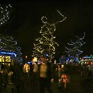 Crowds at  Zoo Lights Panorama 2 by LeeMascarello