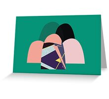 Green and peach patterned landscape Greeting Card