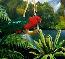 Rainforest Swing  (Male King Parrot) by Sandra  Sengstock-Miller