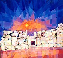 Prismatic Sunrise over Mnajdra Temples by Joseph Barbara