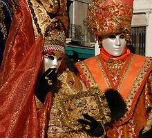 Carnival Couple in Orange Costumes, Venice by jojobob