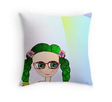 Green Eyed Geeky Doll Throw Pillow