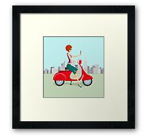 Cute woman on Red Scooter Making Selfie Framed Print