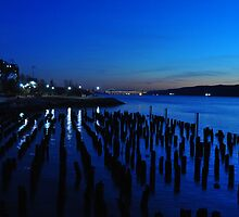 Downtown Yonkers view of the Hudson River and the George Washington Bridge at Dusk by NinoModugno