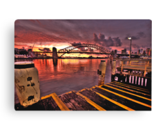 Morning Landing - McMahons Point Wharf - Moods Of A City The HDR Experience Canvas Print