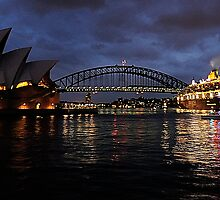 Morning Encounter - Queen Mary 2 ,Sydney Opera House, Sydney Harbour Bridge, Sydney Harbour  by Philip Johnson