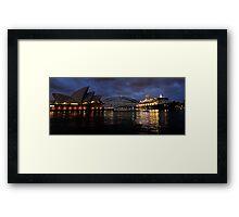Morning Encounter - Queen Mary 2 ,Sydney Opera House, Sydney Harbour Bridge, Sydney Harbour  Framed Print