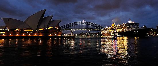 Morning Encounter - Queen Mary 2 ,Sydney Opera House, Sydney Harbour Bridge, Sydney Harbour  by Philip Johnson