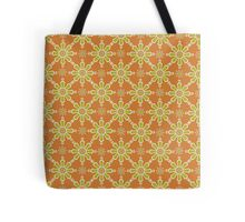 Chic Flower Pattern, Rusty Red, Green, Cream Tote Bag