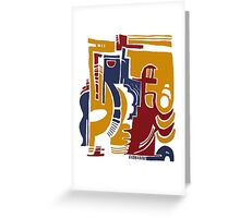 fists, guitars and pistons Greeting Card