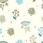Elegance Seamless pattern with flowers, vector floral illustration in vintage style, Ukraine, dill by OlgaBerlet