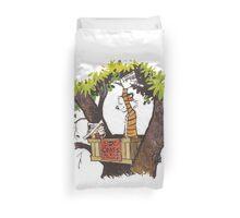 calvin and hobbes on tree  Duvet Cover
