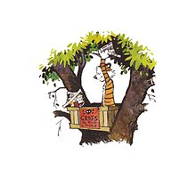 calvin and hobbes on tree  by Fangsout