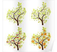 Stylized Fruit Trees 2 Poster