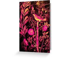 POMPEII COLLECTION NIGHTINGALE WITH PINK ROSES Greeting Card