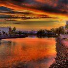 Cornmeal Creek at Sunset-2259-61 by Barbara Harris