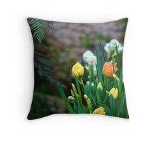 Spring Tulips And Fern Leaf Throw Pillow