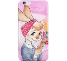 Bunny girl with flowers iPhone Case/Skin