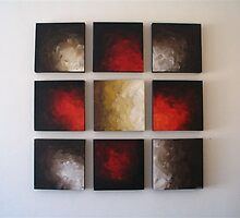 Set of 9 color abstract blocks by Chanelle Kotze