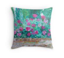 Peony walled garden Throw Pillow