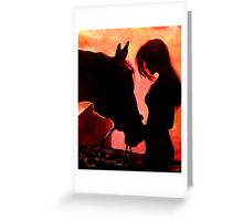Cowgirl Horse Western Silhouette Greeting Card