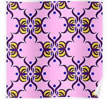 Seamless pattern with purple ornament on the pink background Poster