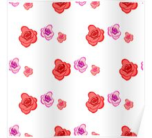Spring seamless pattern with roses on the white background Poster