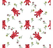 seamless pattern with red bears Photographic Print