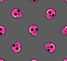 seamless pattern in the style of emo skull. Drawn by hand, cute doodle drawing by Ann-Julia