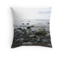 Pebbles by the sea Throw Pillow
