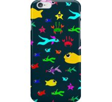 Seamless pattern with fish and crabs in the style of doodle drawing. iPhone Case/Skin